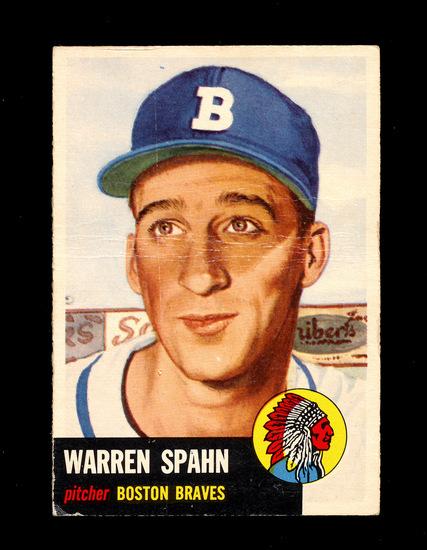1953 Topps Baseball Card Short Print #147Hall of Famer Warren Spahn Boston