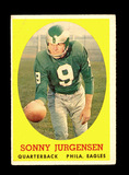 1958 Topps ROOKIE Football Card #90 Rookie Hall of Famer Sonny Jurgensen Ph