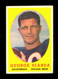 1958 Topps Football Card #129 Hall of Famer George Blanda Chicago Bears. EX