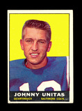 1961 Topps Football Card #1 Hall of Famer John Unitas Baltimore Colts. Has