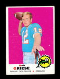 1969 Topps Football Card #161 Hall of Famer Bob Griese Miami Dolphins. EX t