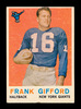 1959 Topps Football Card #20 Hall of Famer Frank Gifford New York Giants. E