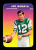 1970 Topps Glossy Football Card #29/33 Hall of Famer Joe Namath New York Je