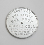 Vintage Aluminum Sun Drop Golden Cola Spinner Coin/Token.