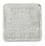 Vintage Colgate's Ribbon Dental Cream Square Aluminum Coin/Token. Good For