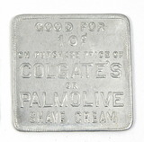 Vintage Colgate's or Palmolive Shave Cream Square Aluminum Coin/Token. Good