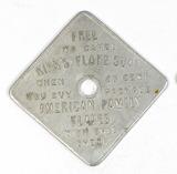 Vintage Kirks Flake Soap/American Family Flakes Square Aluminum Coin/Token.