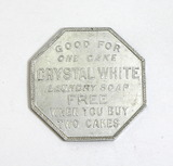 Vintage Octagon Shaped Crystal White Laundry Soap CA-140 Coin/Token. Good F