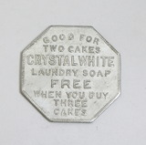Vintage Octagon Shaped Crystal White Laundry Soap Coin/Token. Good For Two