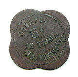 Vintage WM.Wrchota 1907- 1919 Saloon Token. Elephant on Reverse. TC-48330