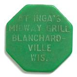 Hexagon Plastic Inga's Midway Grill Blanchardville,Wis. Coin/Token. Good fo