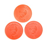 (3) Red Plastic Top Frost Turkey Coin/Tokens. At Participating Stores. TC-4