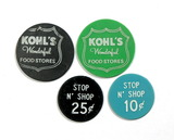 (4) Plastic Misc. Food & Shopping Coins/Tokens. Kohls Food Stores 1 & 5 Cen