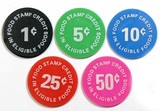 (5) Plastic Lauers Food Mart Coin/Tokens. Eligible in FoodStamp Credit Food
