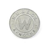 Vintage W.G.&E. Kenosha Token. Good For One Kenosha Fare Kenosha, Wis. Atwo