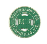 Vintage Inter Transit Co. Marshfield, Wis. (MW Green Paint) Token. Good For