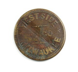 Vintage Westside RY Co. Milwaukee, Wis. Token. Good for One Fare Atwood/Cof