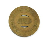 Vintage Wisconsin Power and Light Co. Token. Good For One School Fare Shebo