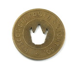 Vintage Wisconsin Power & Light Co. Token. Good For One Fare Sheboygan, Wis