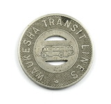 Vintage Waukesha Transit Lines Token. Good For One Fare Waukesha, Wis. Atwo