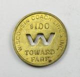 Vintage Wisconsin Coach Lines Token. $1.00 Towards Fare Waukesha, Wis. Atwo