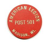 Plastic American Legion Post 501 Madison, WI Token.  TC-300895  1-1/8
