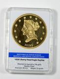 American Mint Limited Edition Replica of 1838 Liberty Head Eagle. Historica