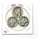 1920 PDS Mercury Dimes. Circulated Conditions