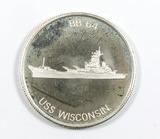 Desert Shield Saudi Arabia Commemorative Coin/Token. USS Wsconsin. .999 Fin
