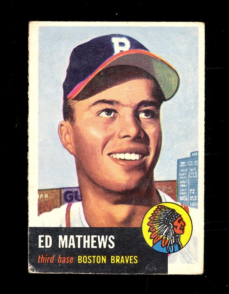 Lot 1953 Topps Baseball Card 37 Hall Of Famer Ed Mathews