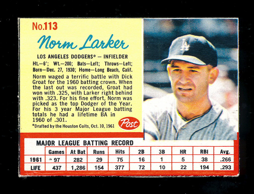 Lot 1962 Post Cereal Hand Cut Baseball Card 113 Norm Larker Los