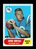1968 Topps Football Card #100 Hall of Famer John Unitas Baltimore Colts.  E