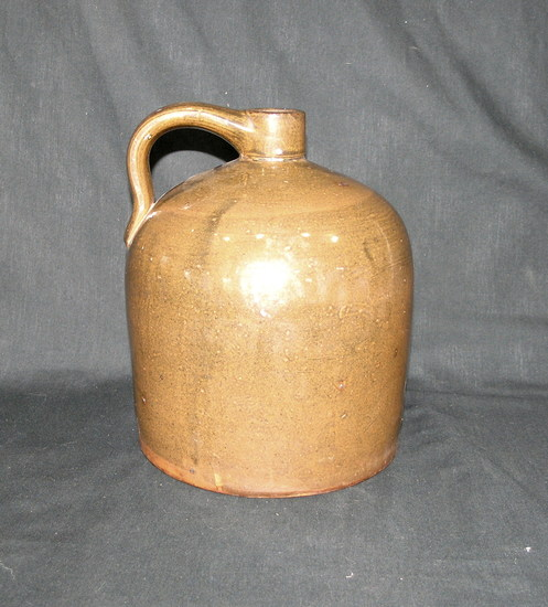 "Vintage Large Stoneware Jug Dark Brown Glaze. No Cracks Unmarked.  9-1/2"" T"