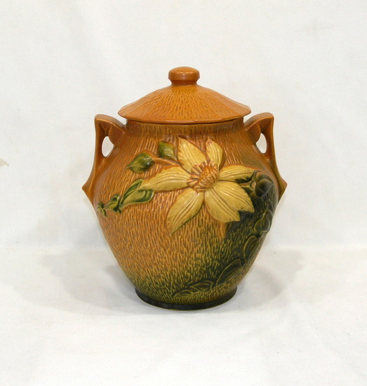 "Vintage Roseville 3-8"" Sienna Brown With Clematis Pattern Cookie Jar With &"