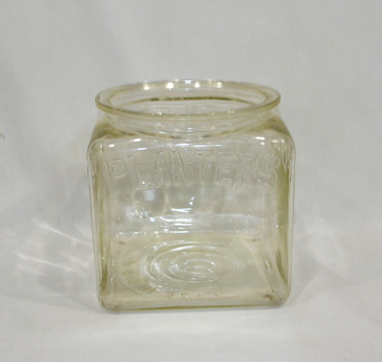Vintage Antique Planters Peanut Large Square Store Dispay Jar With embossed