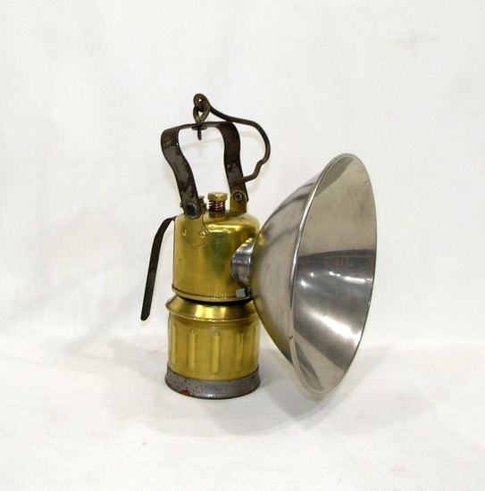 Vintage Early 1900's  Brass Justrite Miners Carbide Lamp Great Condition Ha