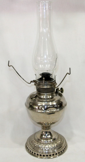 Vintage B&H Nickel Plated Kerosene Lamp With Clear Glass Chimney with No Sh