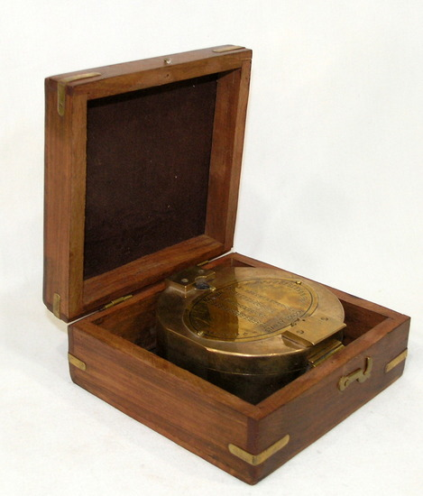 Vintage Stanley London Natural Sine Large Brass Compass With Wood Box Good