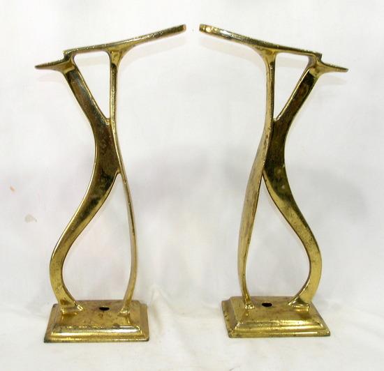 (2) Antique Solid Heavy Brass Shoe Shine Stands. Cobbler Shoe Form Stands U