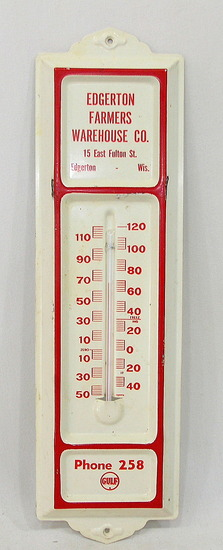 Vintage Enamel Wall Themometer Edgerton Farmers Warehouse Company Functions