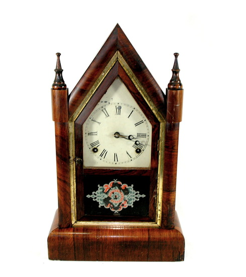 Vintage Gilbert Manufacturing Co Antique Rosewood Steeple Clock Chimes On T