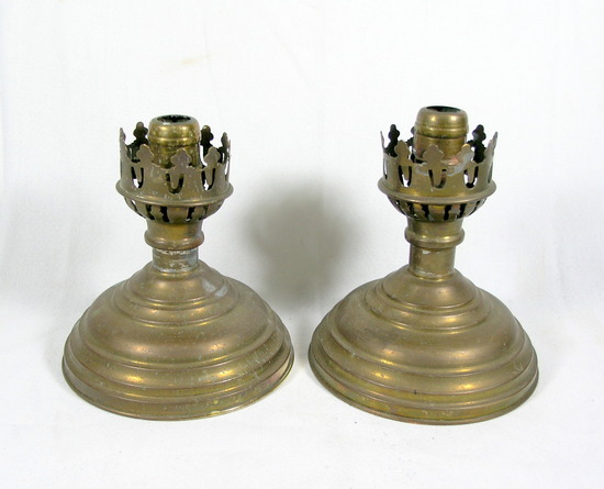 (2) Weighted Brass & Tin Candle Stick Base Holders. No Chimneys. Good Condi