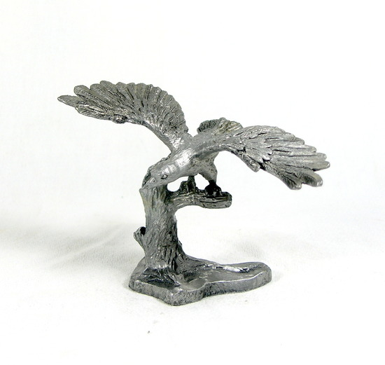 Hand Crafted Solid Pewter Eagle on Branch Sculpture