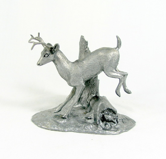 Hand Crafted Solid Pewter Deer Jumping over Log Sculpture
