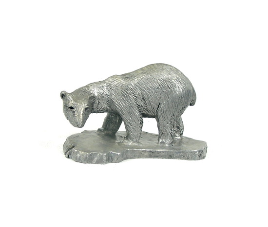Hand Crafted Solid Pewter Polar Bear Sculpture