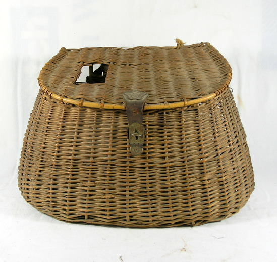 Vintage Fishing Creel Basket Weaved With Leather And Fabric Shoulder Strap.