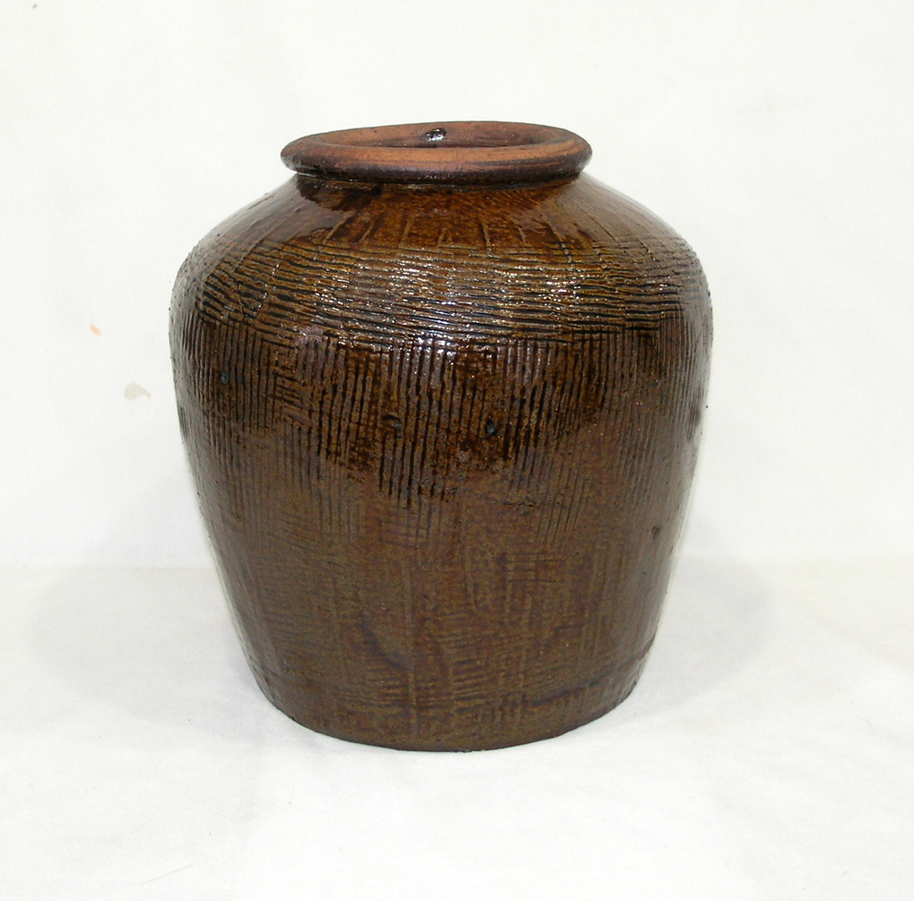Large Clay/Stoneware Jug Or Possibly Planter Appears To Be Hand Made With B