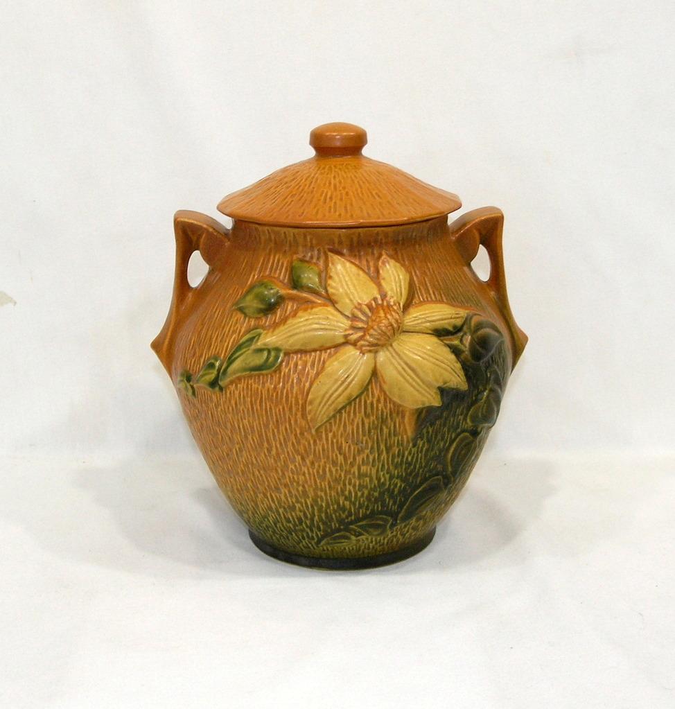 "Vintage Roseville 3-8"" Sienna Brown With Clematis Pattern Cookie Jar With &"