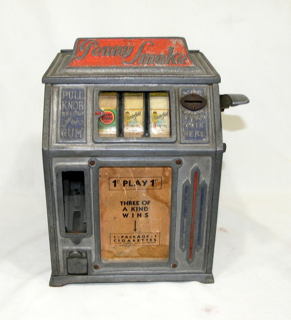 Vintage Dandy Vendor 1930's Penny Smoke Gumball Slot Machine Good Condition