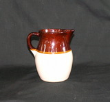 Vintage R.R.P.Co Roseville #121-J Pottery Pitcher Jug Crock Style Glaze Wit